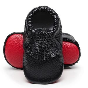 Other - ♥️Loubie Black leather soft red sole baby moccasin